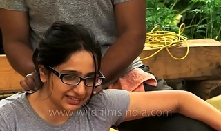 Woman receives sanative palpate in Indian Himalaya.MP4